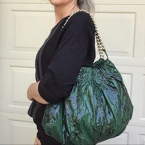 GIANNI BINI green faux snake slouch bag chain